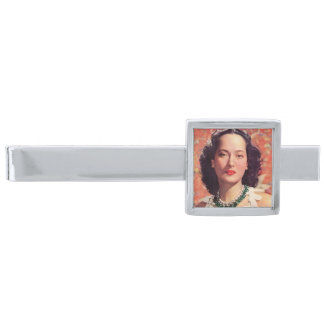 the beauteous Merle Oberon Silver Finish Tie Clip