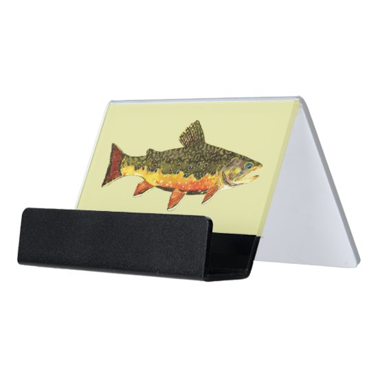 The Beautiful Brook Trout Desk Business Card Holder