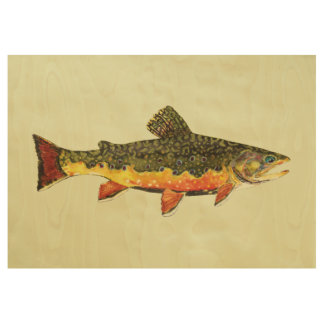 The Beautiful Brook Trout Wood Poster