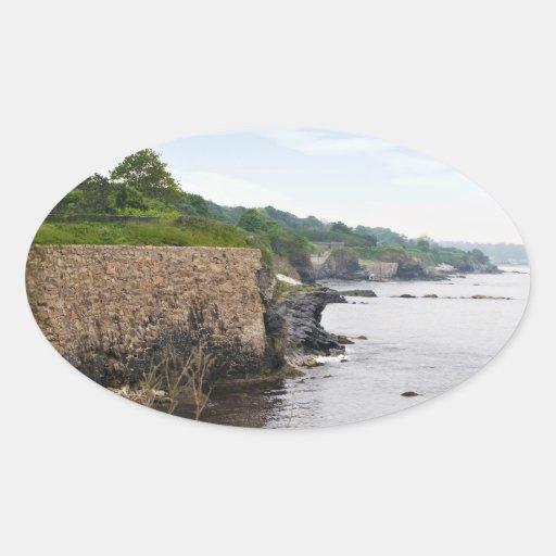 The beautiful coast of Newport Rhode Island Oval Sticker
