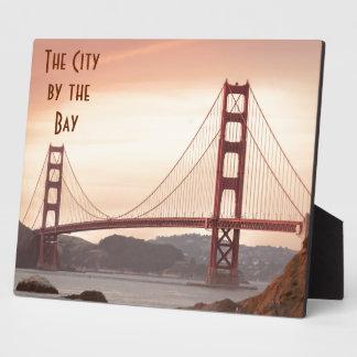 The beautiful Golden Gate Bridge in San Francisco Plaque