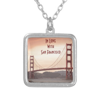 The beautiful Golden Gate Bridge in San Francisco Silver Plated Necklace
