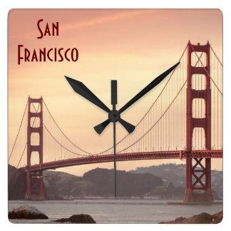 The beautiful Golden Gate Bridge in San Francisco Square Wall Clock