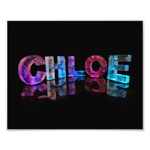 The Beautiful Name Chloe in 3D Lights Photo Print