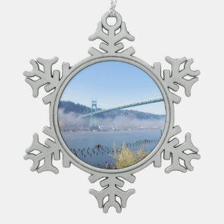 The Beautiful St. Johns Bridge Snowflake Pewter Christmas Ornament