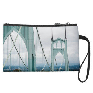The beautiful St. John's Bridge Suede Wristlet Wallet