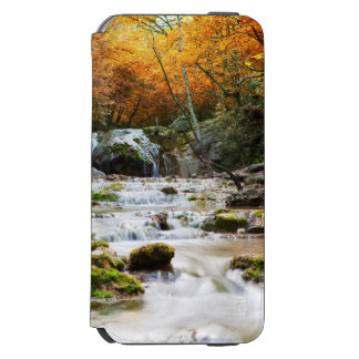 The beautiful waterfall in forest, autumn iPhone 6/6s wallet case