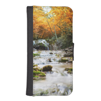The beautiful waterfall in forest, autumn iPhone SE/5/5s wallet case