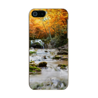 The beautiful waterfall in forest, autumn metallic iPhone SE/5/5s case