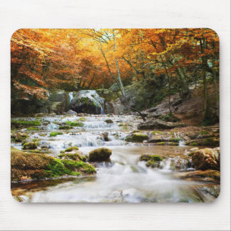 The beautiful waterfall in forest, autumn mouse pad