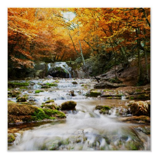 The beautiful waterfall in forest, autumn print