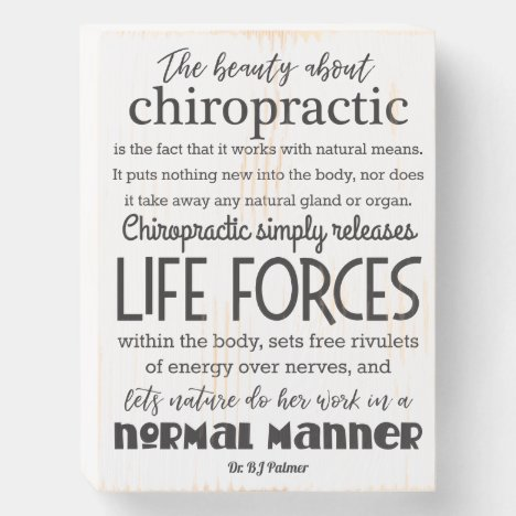The Beauty About Chiropractic Palmer Quote Wooden  Wooden Box Sign