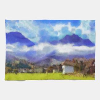 The beauty of a Swiss landscape Kitchen Towel