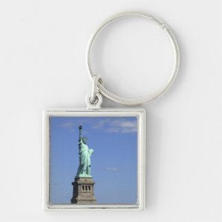 The beauty of the famous Statue of Liberty on Silver-Colored Square Keychain