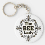 the bee lady basic round button keychain