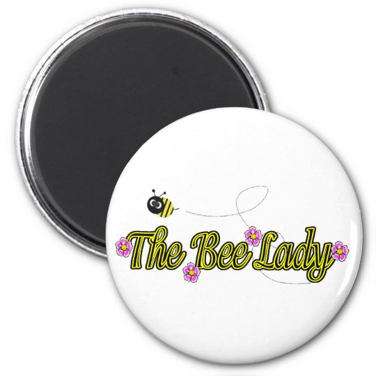 the bee lady with flowers 2 inch round magnet