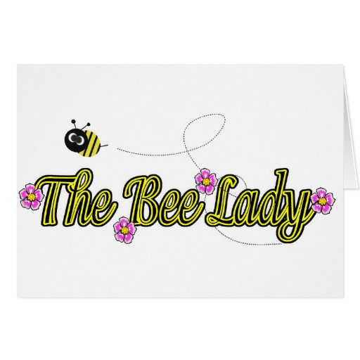 the bee lady with flowers greeting card