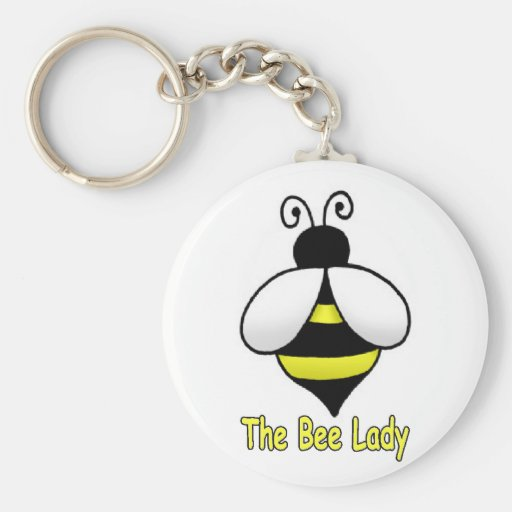 The Bee Lady yellow Basic Round Button Keychain