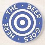 The Beer Goes Here Coaster in Blue