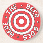 The Beer Goes Here Coaster in Red