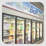 The beer section of an Iowa grocery store. 2 Square Sticker