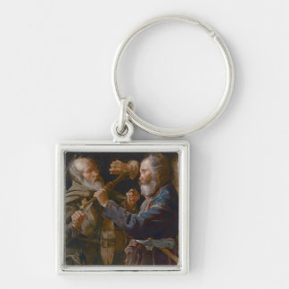 The Beggars' Brawl, c.1625-30 (oil on canvas) Silver-Colored Square Keychain