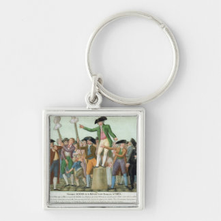 The Beginning of the French Revolution Silver-Colored Square Keychain