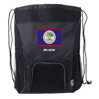 The Belize Flag Drawstring Backpack
