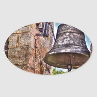 The Bell Tower Antique Stone Arches Oval Sticker