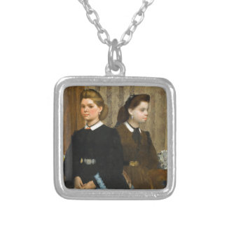 The Bellelli Sisters by Edgar Degas Silver Plated Necklace