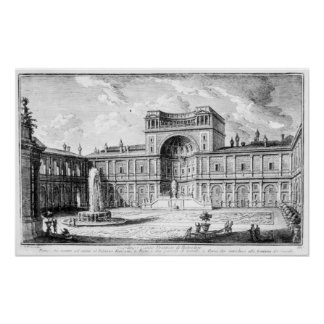The Belvedere Court in the Vatican Rome Poster