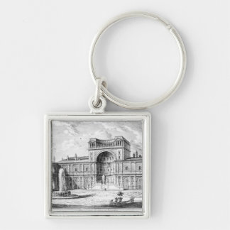 The Belvedere Court in the Vatican Rome Silver-Colored Square Keychain