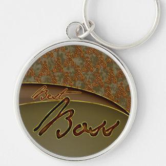 The best boss golden brown design keychain