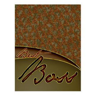 The best boss golden brown design postcard