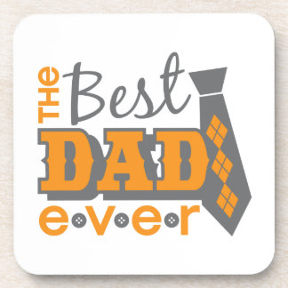 The Best Dad Ever with tie and buttons Beverage Coaster