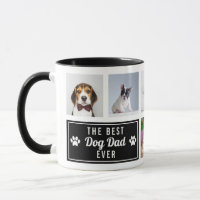 The Best Dog Dad Ever Black Pet Collage Photo Mug