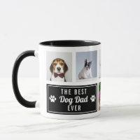 The Best Dog Dad Ever Black Pet Collage Photo Mug