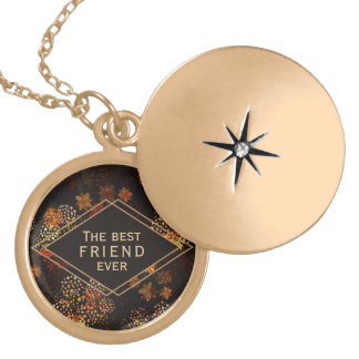 The best friend gift Brown floral design Gold Plated Necklace