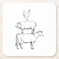 The best Funny Farm Animals For Farmers Square Paper Coaster