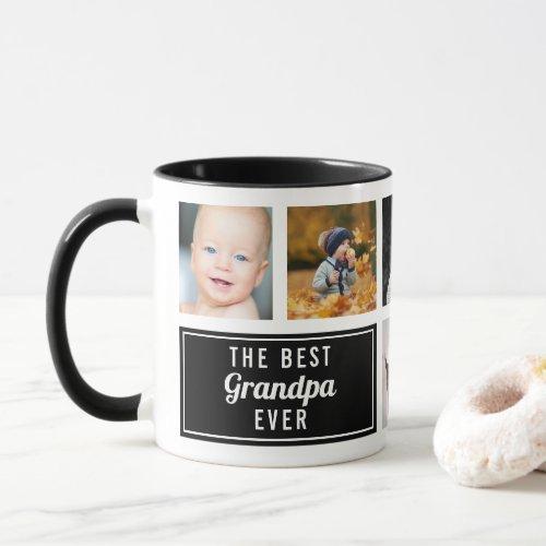 The Best Grandpa Ever Black Collage Photo Mug