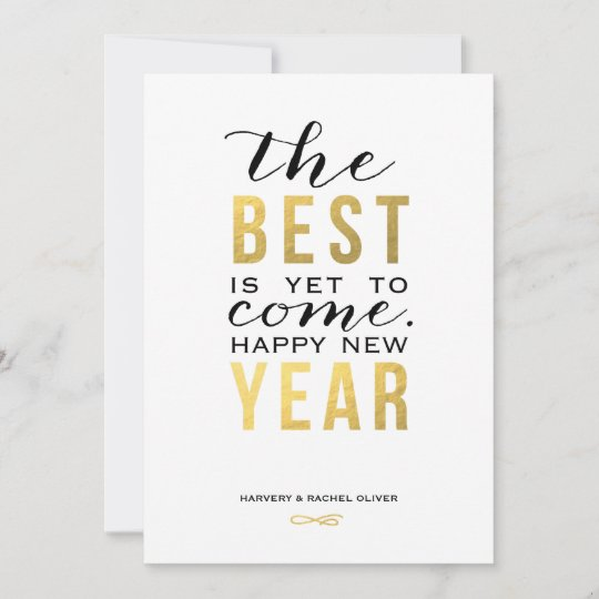 the best is yet to come faux foil new year card