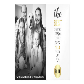 The Best Is Yet To Come Typography New Year Photo Magnetic Card