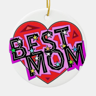 The Best Mom with a Heart. Ceramic Ornament