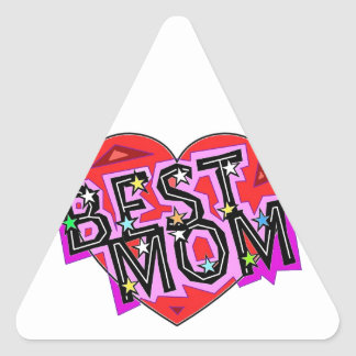 The Best Mom with a Heart. Triangle Sticker