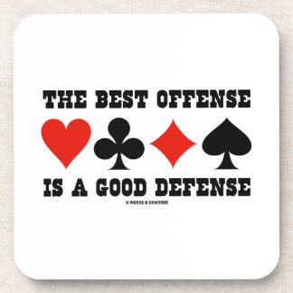 The Best Offense Is A Good Defense (Card Suits) Beverage Coaster