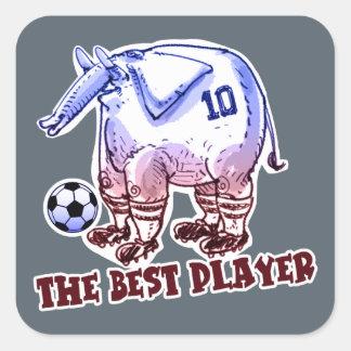 the best player elephant cartoon square sticker