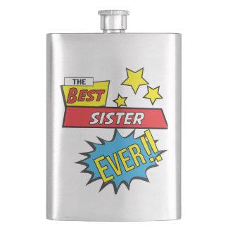 The best sister ever pop art comic book flask