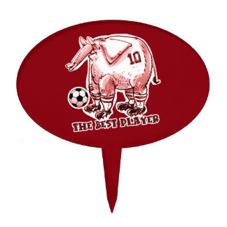 the best soccer player elephant cartoon red cake topper