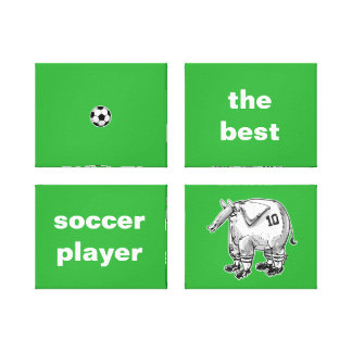 the best soccer player elephant cartoon style canvas print