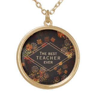 The best teacher gift Brown floral design Gold Plated Necklace